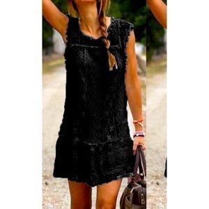 Women's Black Lace Overlay Dress Sz XS